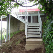 Steel industrial and fire escape stairs